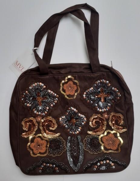 Abendhandtasche Handtasche Velour braun Stickerei Pailetten