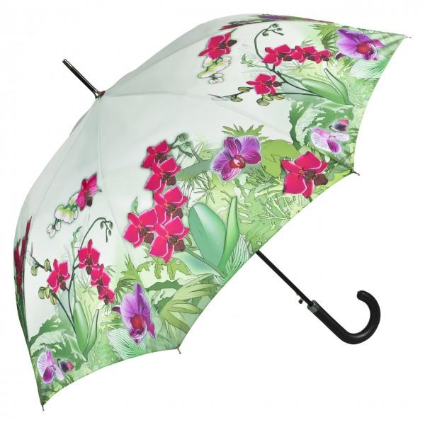 Regenschirm Automatik Motiv Blumen Orchideen