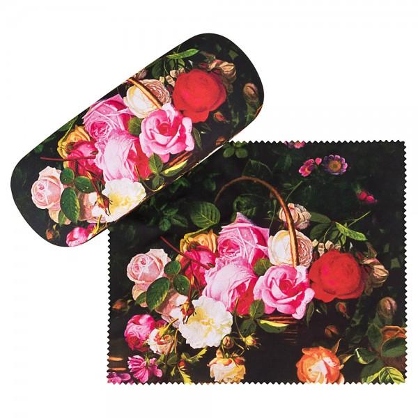 Brillenetui mit Putztuch William Hammer: Rosenkorb Blumen