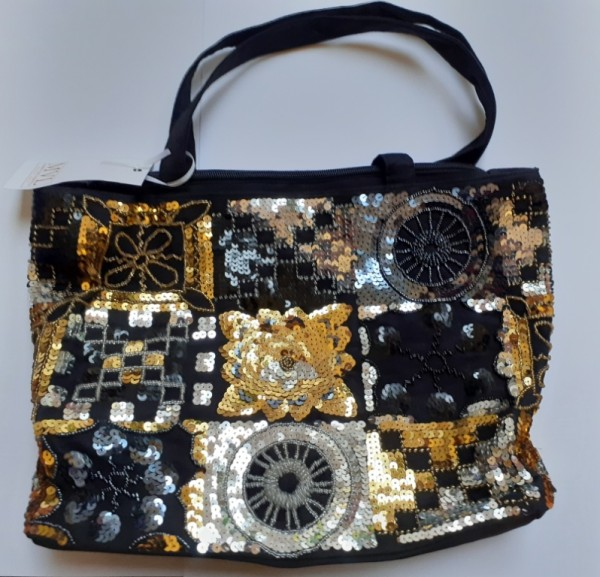Handbag black Silk