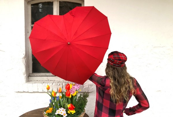 Motive umbrella Heart red