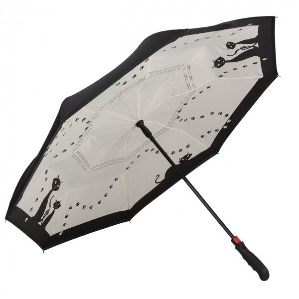 Regenschirm Motiv Automatik Schwarze Katzen, doppelt bespannt, Inverted