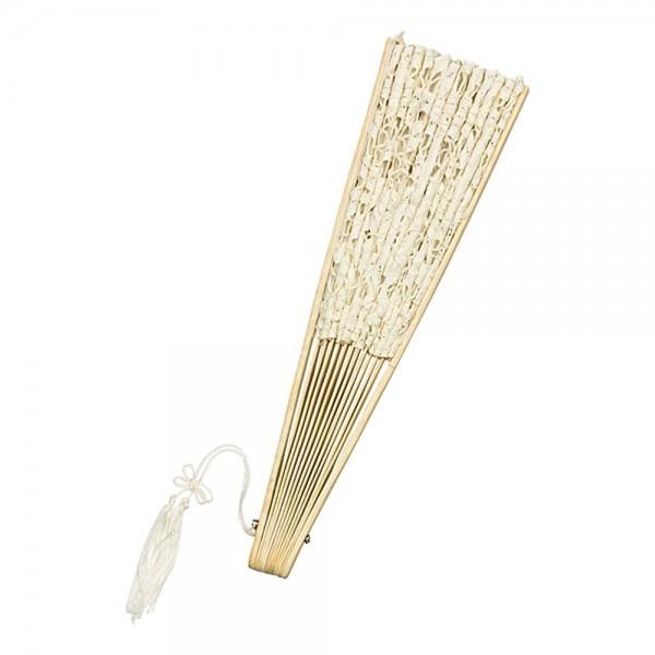 Fächer aus Spitze Bambusstäbe Carmen, creme