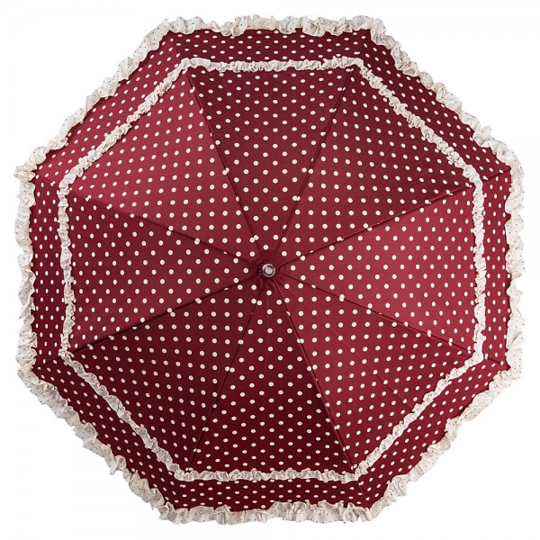 Automatic umbrella Mary iburgundy with polka dots