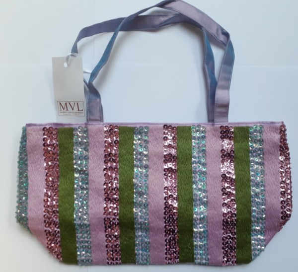 Handbag Silk with stripes green/ pink