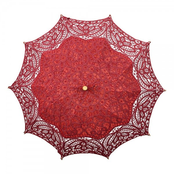 "Lace umbrella ""Vivienne"", burgundy"