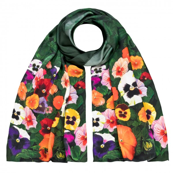 Long Silk Scarf Flowers Satin Pansies