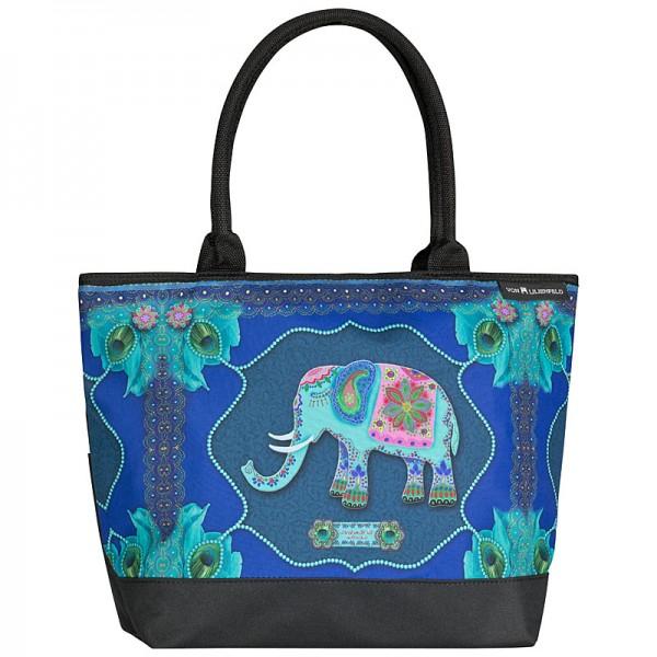 Tote Bag Shopping Art Eva Maria Nitsche: Blue Elephant