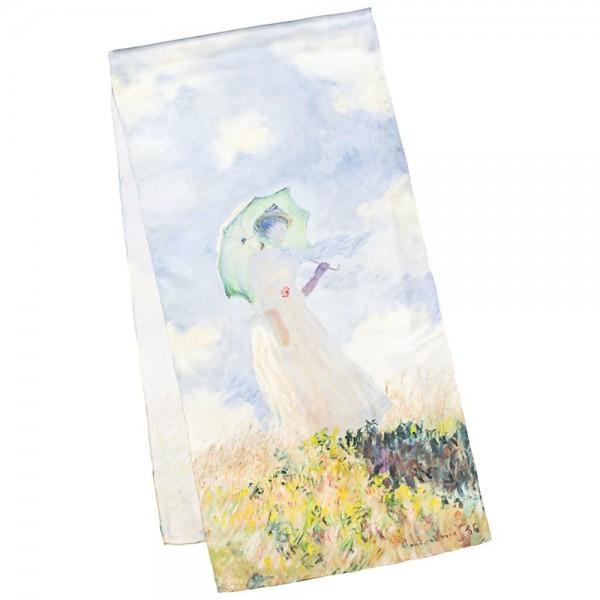 Seidenschal Satin lang 172 x 42 cm Claude Monet: Dame mit Schirm