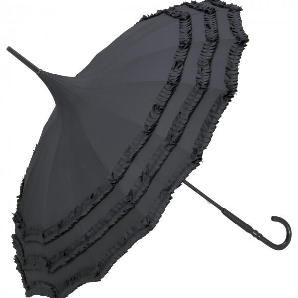 """Regenschirm Sonnenschirm Pagode """"Amelie"""", schwarz"""