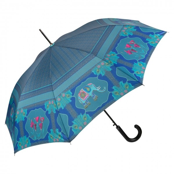 Umbrella Automatic Motif Art Eva Maria Nitsche Blue Elephant