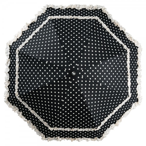 Automatic umbrella Mary black with polka dots
