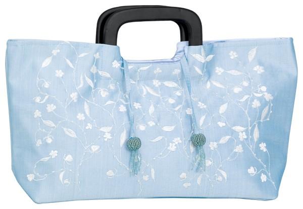 Abendhandtasche Handtasche Blütenmuster taubenblau