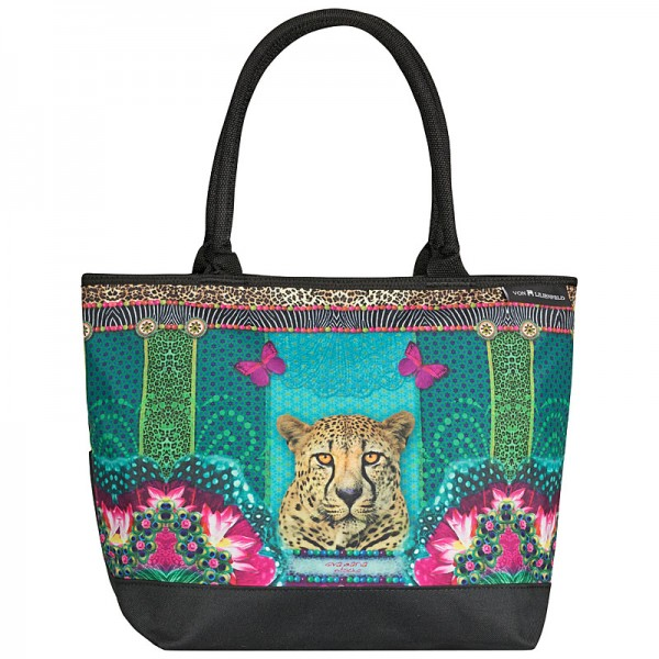 Tasche Shopper Umhängetasche Motiv Eva Maria Nitsche: Longing Leopard