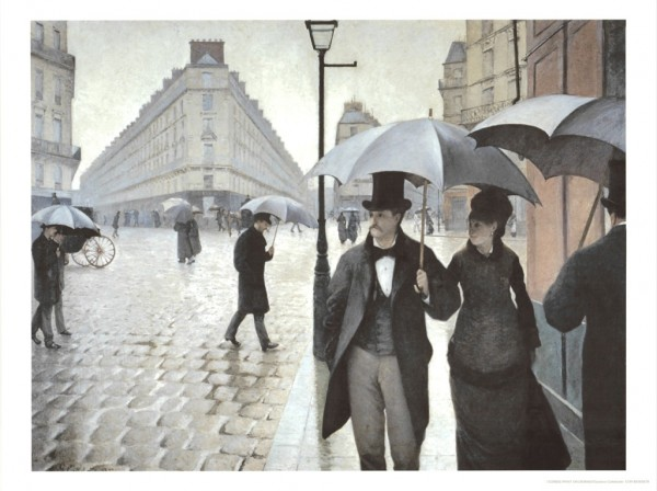Folding Pocket Umbrella Automatic Telescopic Gustave Caillebotte: Rainy Paris