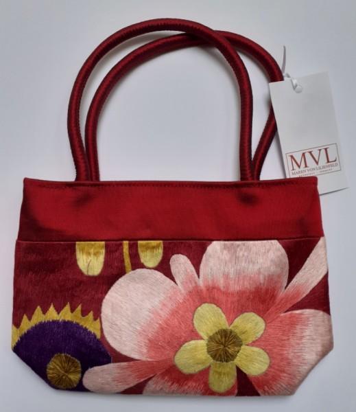 Abendhandtasche Handtasche rot Stickerei Blumen