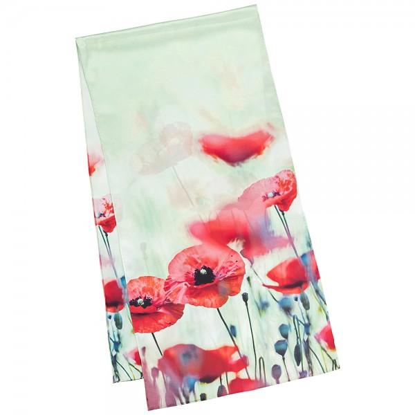 Long Silk Scarf Flowers Satin Poppies