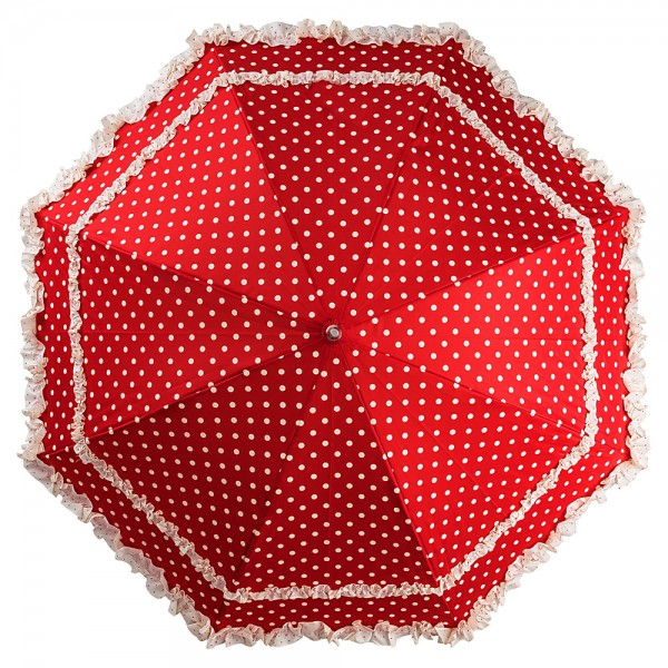 Automatic umbrella Mary red with polka dots