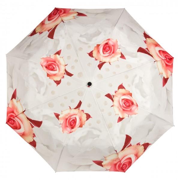 Taschenschirm Leicht Stabil Kompakt Rosen creme Auf-Automatik