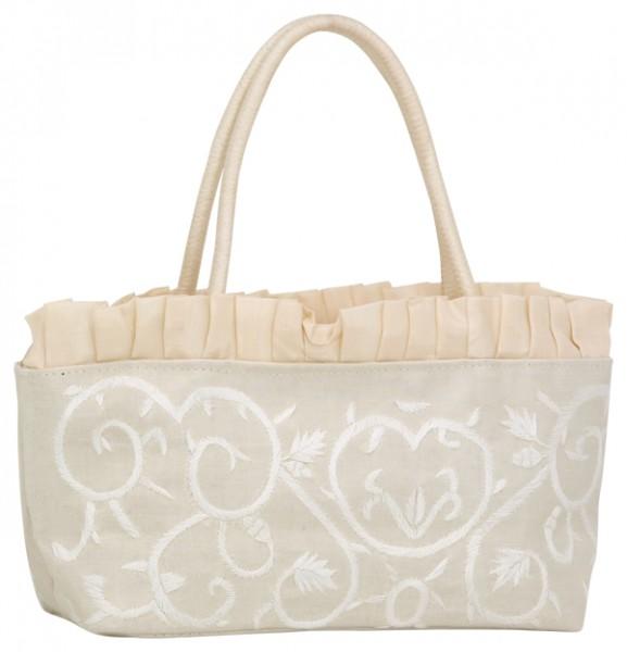Abendhandtasche Handtasche Baguetteform creme