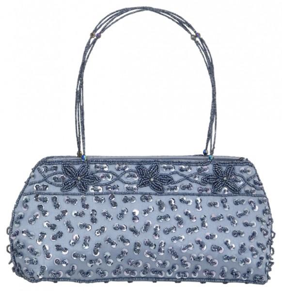 Abendhandtasche Handtasche Satin silber