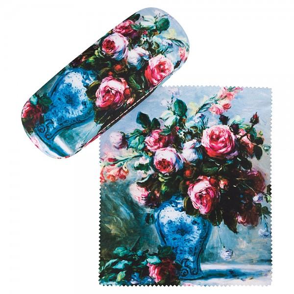 Brillenetui mit Putztuch Pierre-Auguste Renoir: Vase mit Rosen